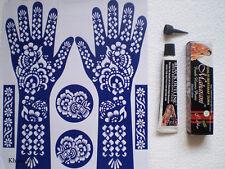 Henna Kit, BLACK TUBE 30gm & DESIGN STENCIL, Mehandi Tattoo, Body Art, DIY