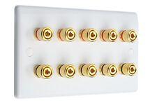 Slimline White 5.0 Audio AV Speaker Wall Face Plate Gold 10 Binding Posts