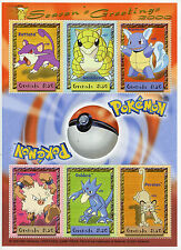 Grenada 2000 MNH Pokemon Season's Greetings Rattata Golduck 6v M/S Stamps