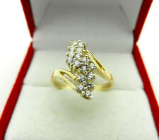 Cluster Simulated Diamonds Ring size 6 Retro Style Solid 14k Yellow Gold