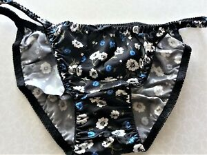 BLACK & BLUE FLORAL UNLINED SILK SATIN STRING BIKINI PANTY XL/8