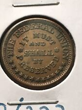 """Au 1863 Cwt 328/223 Army Navy Civil War Token """"Shall By Preserved"""" Error ��Be��"""