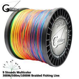 Multicolor Braided Fishing Line 9 Strands 300m 500m 1000m Multifilament PE Line