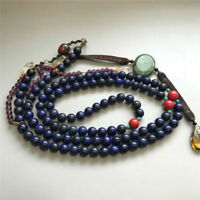 Old lapis lazuli Beads 108 Capsules Qing Dynasty court accessories long necklace
