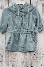 JANIE and JACK Size 3-6 Months Teal Blue Long Sleeve Collared Silk Dress