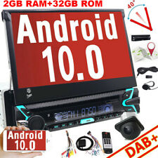 """7"""" inch Android 10.0 Flip Out Car DVD Stereo Radio 1DIN Head Unit Player SAT GPS"""