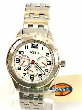 NWT Fossil BQ1408 Women's Chronograph Stainless Steal Bracelet White Dial Watch