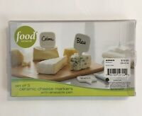 New Food Network Set of 3 Ceramic Cheese Markers w/Erasable Pen Christmas Gift