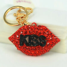 Black KISS Lips Keyring Rhinestone Crystal Charm Pendant Key Bag Chain Gift New