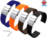 SILICONE RUBBER WATCH STRAP BLACK BROWN RED ORANGE BLUE GREEN 18-20-22-24MM