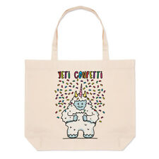 Yeti Confetti Large Beach Tote Bag - Funny Animal Shopper Shoulder