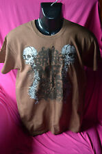 mens preowned t-shirt.size M colour brown with motif.