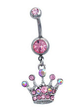 Pink  Princess Crown Tiara Dangle Charm  Navel Belly Ring Body Piercing Jewelry
