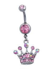 Pink  Princess Crown Tiara Dangle Charm  Navel Belly Ring Body Piercing Jewelry