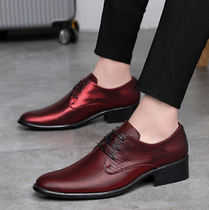 Mens Leather Casual Round Toe Lace Up Oxfords Business Fashion Party Dress Shoes
