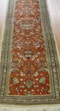"""2'5"""" x 12'5"""" Runner Hand-knotted Wool India Red Pictorial Animals Oriental Rug"""