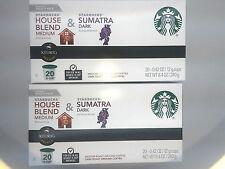 2 STARBUCKS VARIETY COFFEE PACKS 20ea KEURIG K-Cup PODS =40 FREE S&H DARK & MED