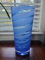 "Art Studio Heavy Glass Cobalt Blue Swirl Hand Blown Vase MCM 12"""