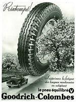 Publicité ancienne pneus Goodrich Colombes pneus équilibrés 1936 issue magazine
