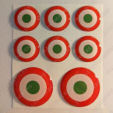 8 x Roundel Italy Italian Stickers 3D Round Resin Domed Flag Adhesive Air Force