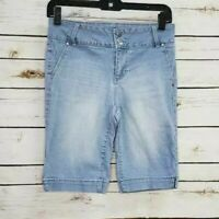 D.jeans Womens Bermuda Shorts Blue Stretch Light Wash Pockets 4