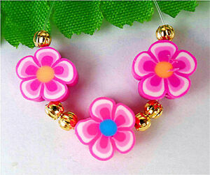 3Pcs 9x5mm Rose Clay Spacer Beads Flower Shape Bead Polymer Clay BV8975