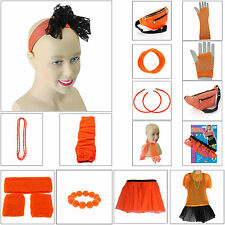 NEON ORANGE 1980s FANCY DRESS LEG WARMERS TUTU NECKLACE EARRING 80s HEN PARTY