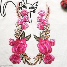 1 Pair Rose Flower Applique Badge Embroidered Iron/Sew on Floral Patch Dress NEW