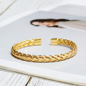 Luxury Stainless Steel Wire Braided Bracelets Open Cuff Charm Wristband Bangle