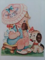 1950s Vtg Little GIRL Ice Cream Cone PUPPY Dog BIRTHDAY GREETING CARD