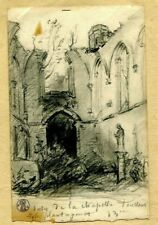 19th century Pencil Drawing - Dessin Ancien,Landscape, Ruins - Dikeos Collection