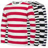 Mens Striped Casual Long Sleeve Crew Neck Cotton T Shirt Plain Tee Tops Blouse
