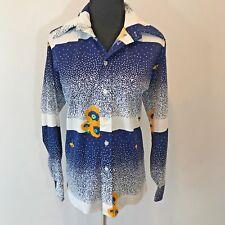 Vintage 1970s David of Miami Beach Blue Yellow Flowers Shirt Blouse size M L S2