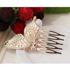 Vintage Fairy Gold/Silver Butterfly Wing Comb Women Hair Pins Barrette Clip ZXX