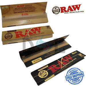 RAW Classic / Black King Size Slim Papers Ultra Thin Smoking Rolling Skins 110mm