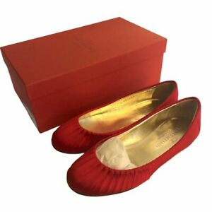 Valentino Garavani Red Satin Pleated Ballet Flats Size 7.5 in Box w Dust Bag
