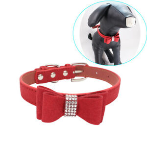 Pet Dog Collar Necklace Rhinestone Bowknot Studded For Pets Puppy Cat Cute