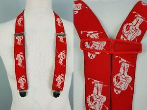 Vintage Red Skiing Wintersport H Fit Clip On Braces Suspenders  SE027