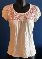 The North Face Womens Medium Cap Sleeve Shirt Off White Pink Tan Embroidered