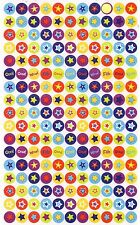 187 Funky Star Reward Sticker Sheet (Red, Purple, Yellow Green, Blue Stars)