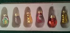 """6 TINY VINTAGE FEATHER TREE CHRISTMAS ORNAMENTS - 1"""" LONG"""