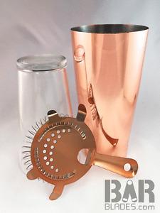 Copper Pro Boston Cocktail Shaker 28oz Tin, Glass & Strainer Set