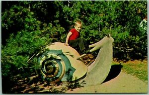 """Sussex, NB Canada Postcard """"Slowpoke the Snail at ANIMALAND"""" Theme Park c1950s"""