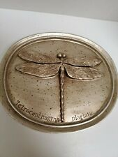 DRAGONFLY Oval Plaque by House Parts Inc The Entomology Series -Distressed Gold