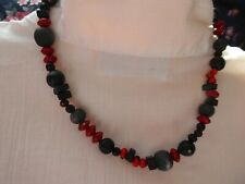 Choker red black seeds black wood beads unusual necklace max 39 cms