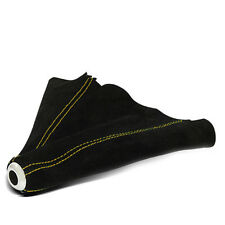 MT JDM SHIFTER BOOT BLACK SUEDE WITH 3 SEAMS YELLOW TRIM STITCHING
