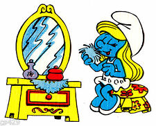 """3"""" SMURFS SMURFETTE MIRROR VINTAGE  PREPASTED WALL  BORDER CUT OUT CHARACTER"""