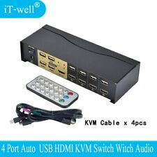 USB HDMI KVM Switch 4 Port HDMI USB2.0 With Audio cables Splitter