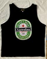 Adult Mens Singlet  Australia Day Souvenir Australian Beer Navy 100%Cotton