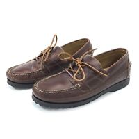 Orvis Men's Size 11D Boat Shoe Loafers Cushioned Brown Red Leather